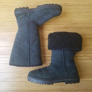 UGG Black Suede Ultra Tall Embroidered Boots 7